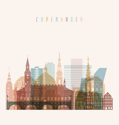 Copenhagen skyline detailed silhouette vector