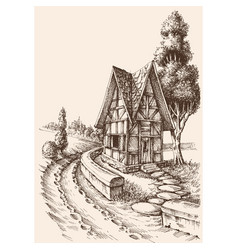 Countryside artistic drawing rural road and vector