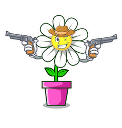 Cowboy daisy flower character cartoon vector