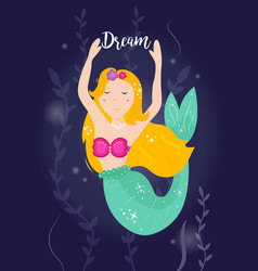 Cute cartoon mermaid with yellow hair vector