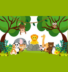 Cute jungle animals in cartoon style wild animal vector