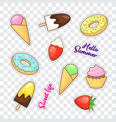 Dessert stickers vector