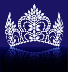 Diadem crown female tiara with precious stones vector