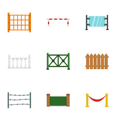 Different fence icons set flat style vector