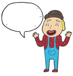 digitally drawn farmers and speech bubbles design vector image
