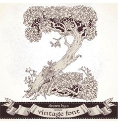 Fable forest hand drawn by a vintage font - Z vector