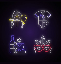 Family party greeting neon light icons set vector