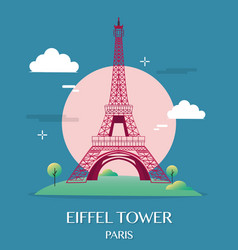 Famous landmark eiffel tower paris france vector