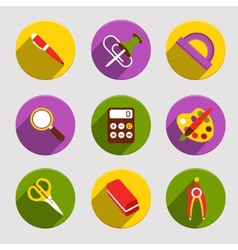 Flat School Icons Set vector image vector image