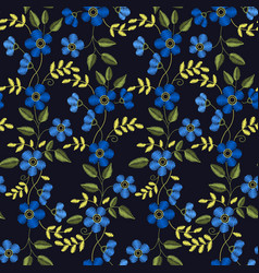 Floral embroidery seamless pattern with blue vector