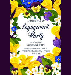 Flowers invitation for engagement party vector