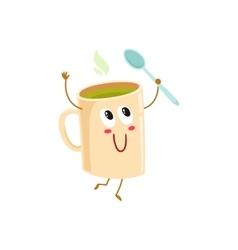 Funny green tea mug character holding a spoon vector