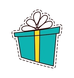 Gift box ribbon parcel shopping color cut line vector
