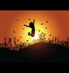 Girl jumping against sunset sky 3001 vector