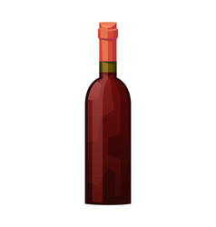 Glass bottle red wine on white background vector