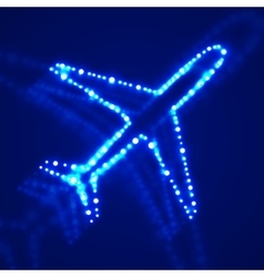 Glowing airplane with neon vector image