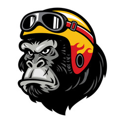 gorilla head wearing the helmet vector image