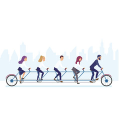 Group of office business people riding bicycle vector