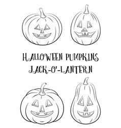 Halloween pumpkins set contours vector