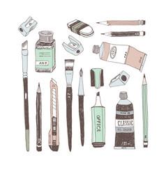 Hand drawn art tools and supplies set vector