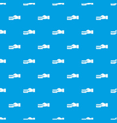 hand holding a credit card pattern seamless blue vector image