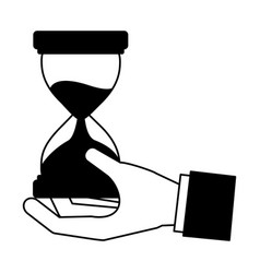 hand holding hourglass time business vector image