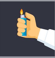 hand holds lighter quick creation vector image