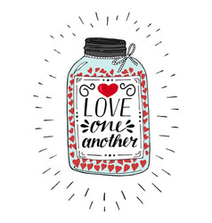 Hand lettering love one another made on pot with vector