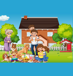 Happy family standing outside home with their pets vector