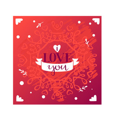 i love you text with ribbon monogram vector image