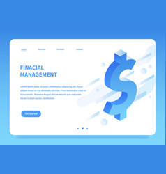 isometric financial landing page concept vector image