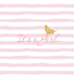 It s a girl bashower template with gold vector