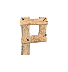 Letter p wood board font plank and nails alphabet vector