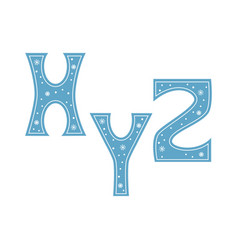 letters x y z decorated with snowflakes isolated vector image