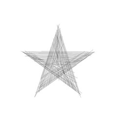 line star icon or logo in hand drawn line style vector image