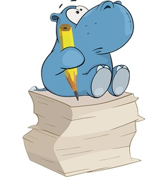 Little hippo-poet Cartoon vector