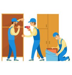 Loaders unpacking goods and furniture in house vector