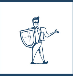 man in business suit shield protecting computer vector image