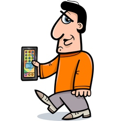 man with smart phone cartoon vector image vector image