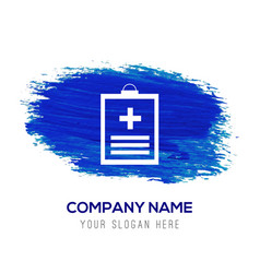 Medical file icon - blue watercolor background vector