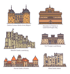 medieval european castles and fortin in linecolor vector image