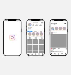 mockup iphone 12 with open instagram updated vector image