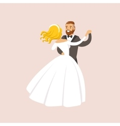 Newlyweds Dancing Waltz At The Wedding Party Scene vector image