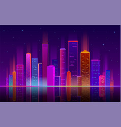 night city building with neon light future vector image