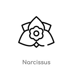 Outline narcissus icon isolated black simple line vector