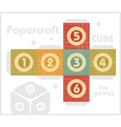 Paper cube for table games in retro style vector