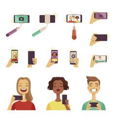 peoples making selfie various tools and vector image