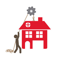 Person with pulleys hanging the house vector
