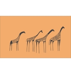 petroglyph herd of giraffes vector image