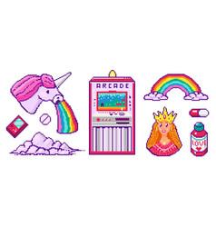 pixel art 8 bit objects character pony cloud vector image